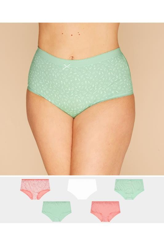 Plus Size Multi Value Packs 5 PACK Pastel Floral Briefs