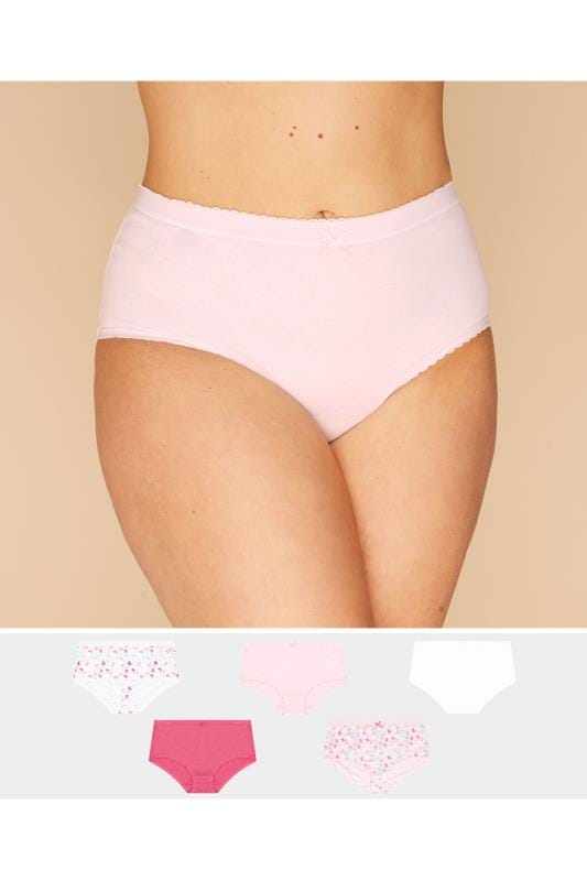 Plus Size Multipack Panties 5 PACK Pink Butterfly Full Briefs