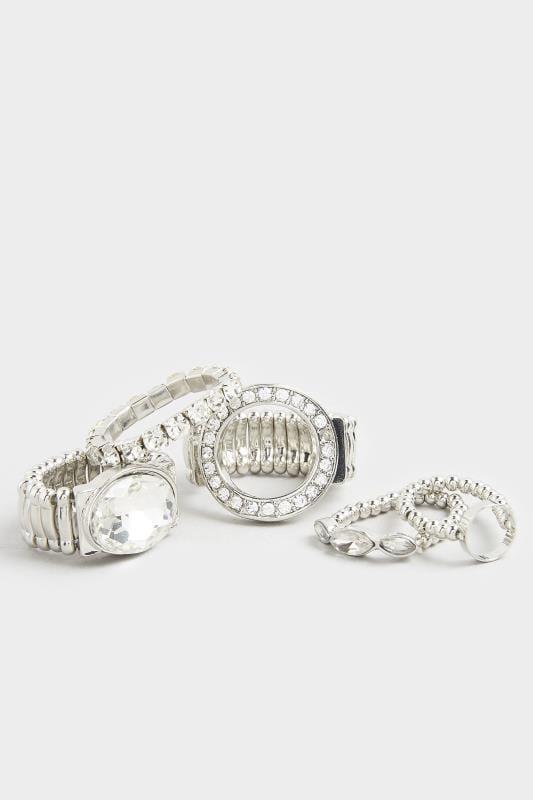 5 PACK Silver Diamante Rings