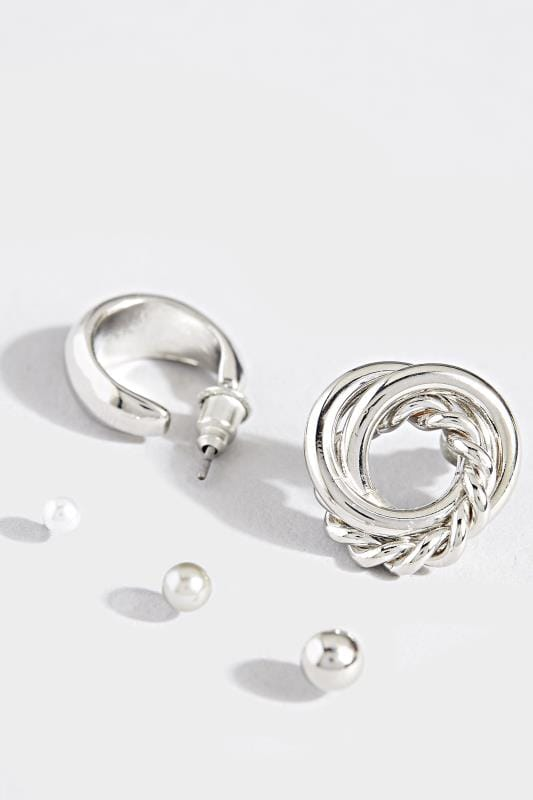 5 PACK Silver Stud & Hoop Earrings Set