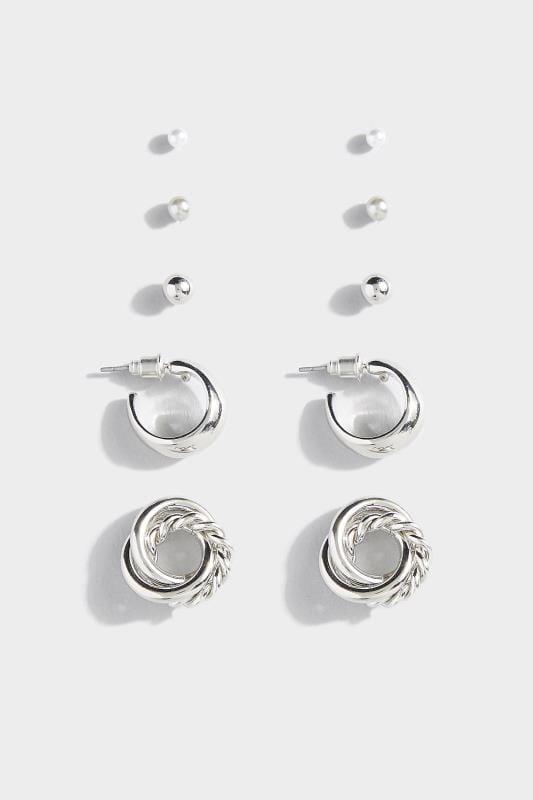 5 PACK Silver Stud & Hoop Earrings Set