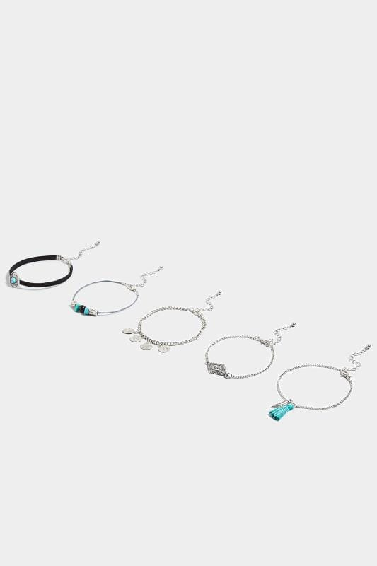 5 PACK Silver & Turquoise Bracelets