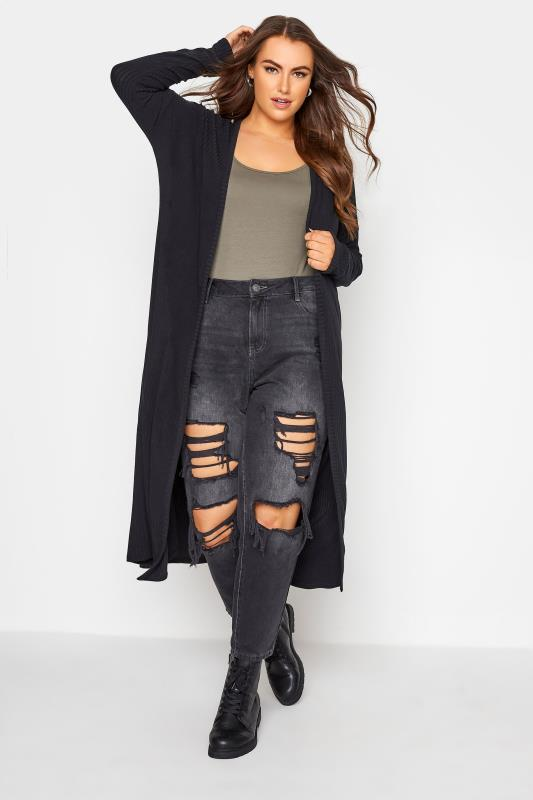 Plus Size  LIMITED COLLECTION Black Ribbed Cardigan