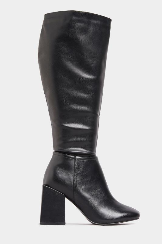 LIMITED COLLECTION Black Vegan Faux Leather Knee High Heeled Boots In Extra Wide Fit_A.jpg