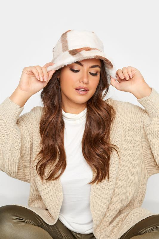 Tall  Yours Neutral Patchwork Faux Fur Bucket Hat