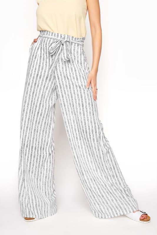 LTS White Stripe Tie Waist Wide Leg Trousers