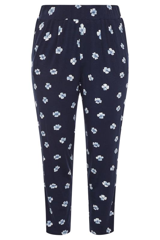 Plus Size  Navy Floral Pleated Harem Trousers