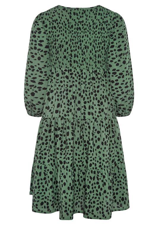 Green Dalmatian Print Shirred Smock Midi Dress_BK.jpg
