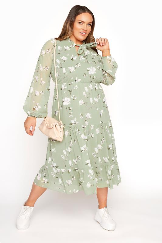 YOURS LONDON Sage Green Floral Bow Smock Dress_B.jpg