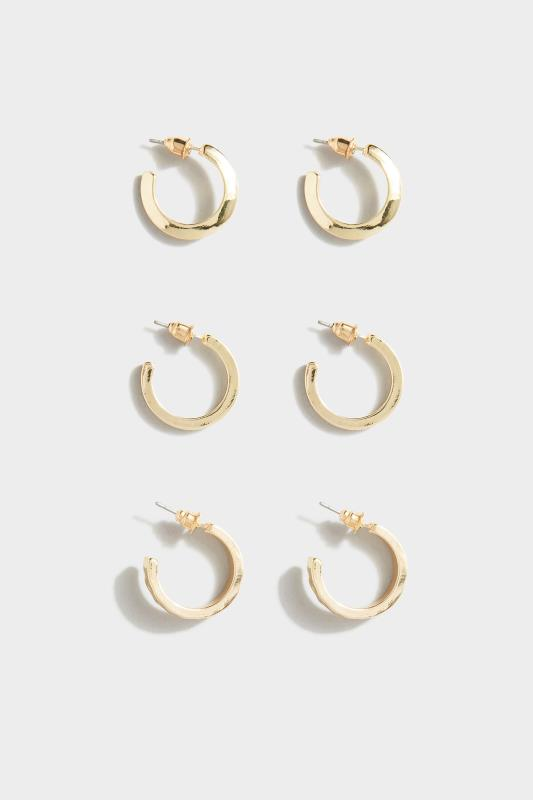 Yours 3 PACK Small Gold Hoop Earrings