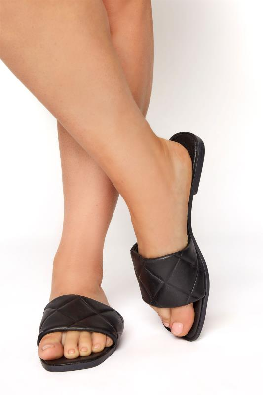 Tall  Yours Black Quilted Flat Mules in Regular Fit