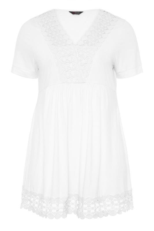 Plus Size  White Crochet Trim Tunic