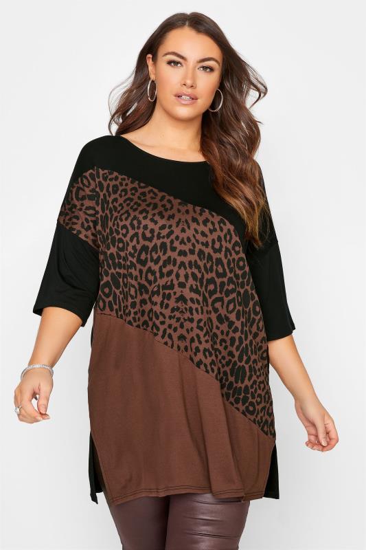 Plus Size  Brown Colour Block Animal Print Oversized Top
