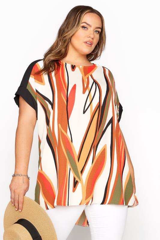 Plus Size  Khaki & Rust Abstract Dipped Hem Tunic Top