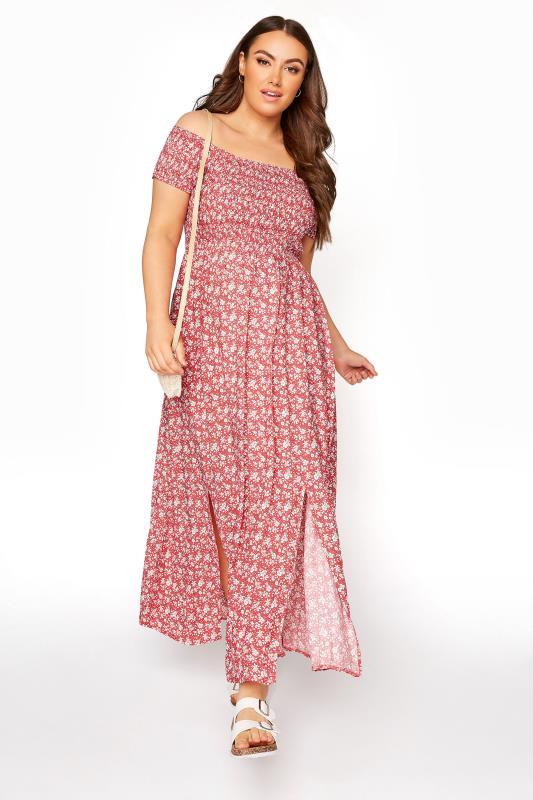 Red Ditsy Floral Shirred Bardot Maxi Dress