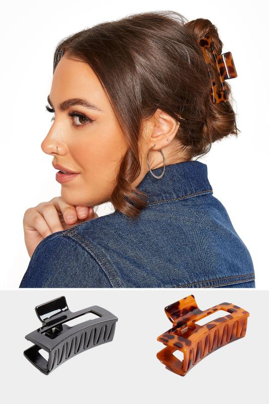 Tall  Yours 2 PACK Tortoiseshell and Black Hair Clips