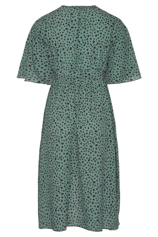 YOURS LONDON Green Dalmatian Midi Wrap Dress_BK.jpg