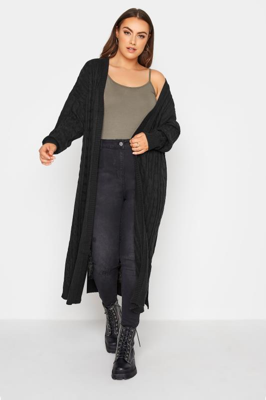 Grande Taille Black Cable Knitted Maxi Cardigan