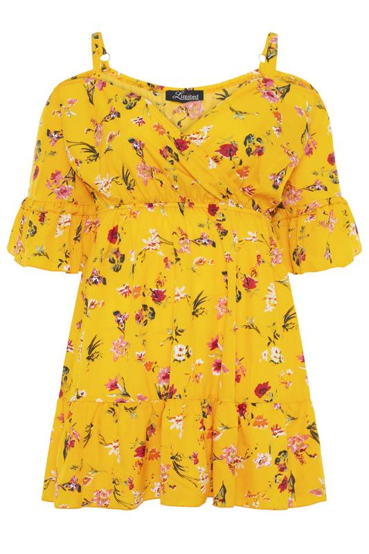 Yellow Floral Cold Shoulder Frill Top_f.jpg