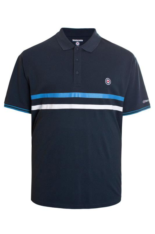 Plus Size  LAMBRETTA Navy Striped Contrast Tipped Polo Shirt