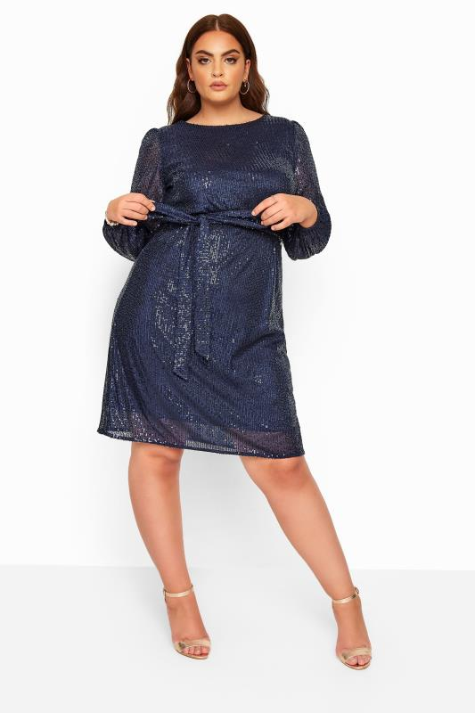 Plus Size Black Dresses YOURS LONDON Navy Sequin Balloon Sleeve Dress