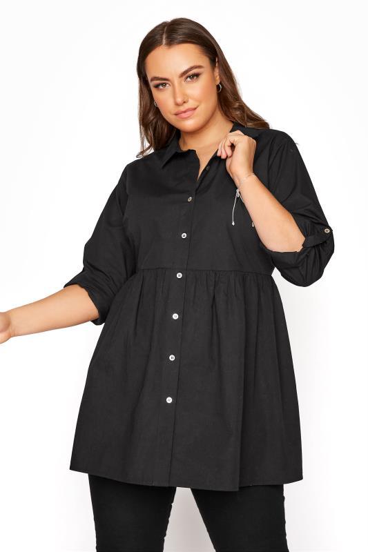 YOURS LONDON Black Turn-Up Sleeve Smock Cotton Shirt