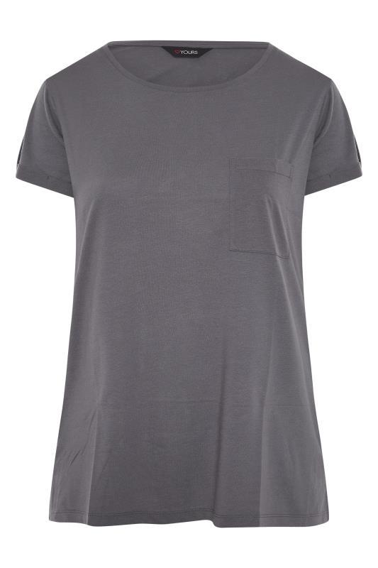 Grey Pocket Dipped Hem T-Shirt_F.jpg