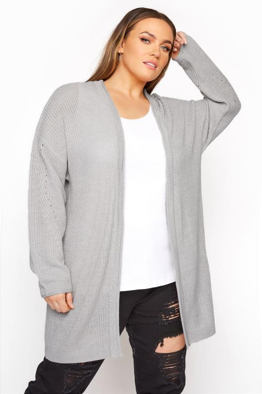 Plus Size  Grey Knitted Pointelle Cardigan