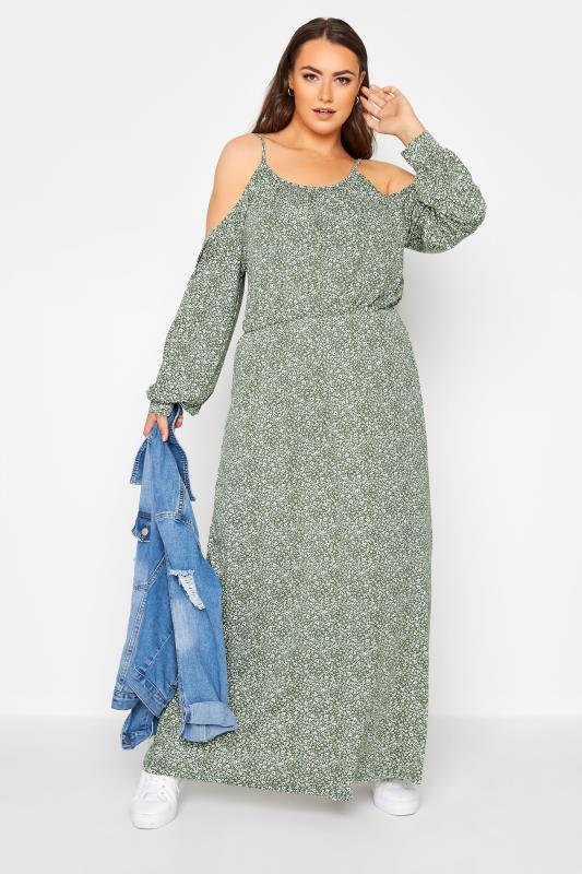 Green Floral Cold Shoulder Maxi Dress_B.jpg