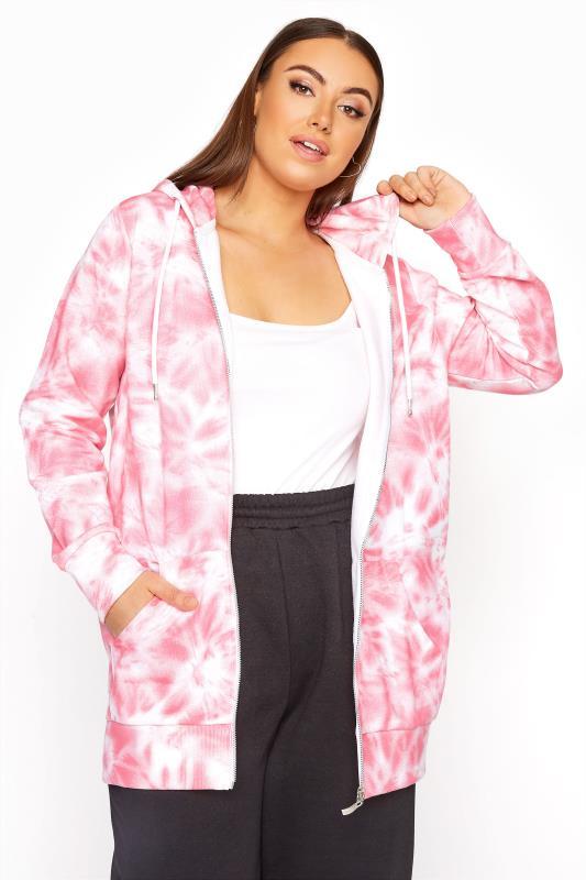 Tallas Grandes Pink Tie Dye Zip Hoodie