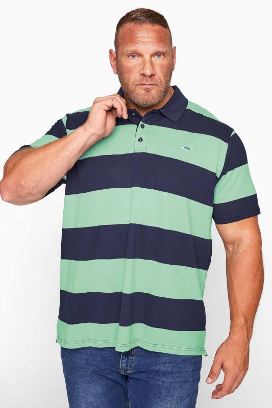 BadRhino Navy & Mint Green Block Striped Polo Shirt