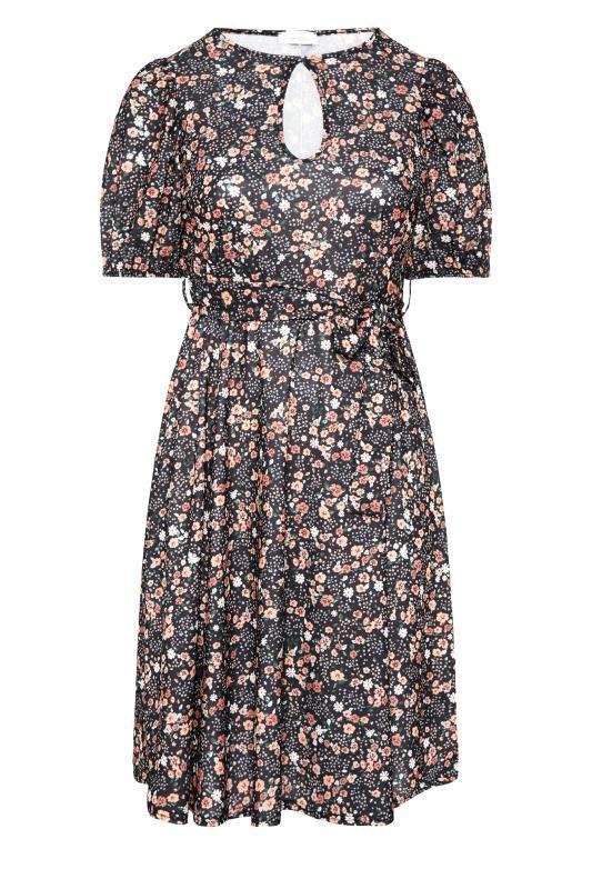 YOURS LONDON Black Ditsy Keyhole Midi Dress_F.jpg