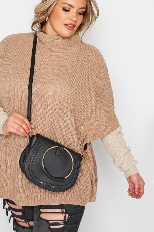 Black Circle Dual Handle Saddle Bag