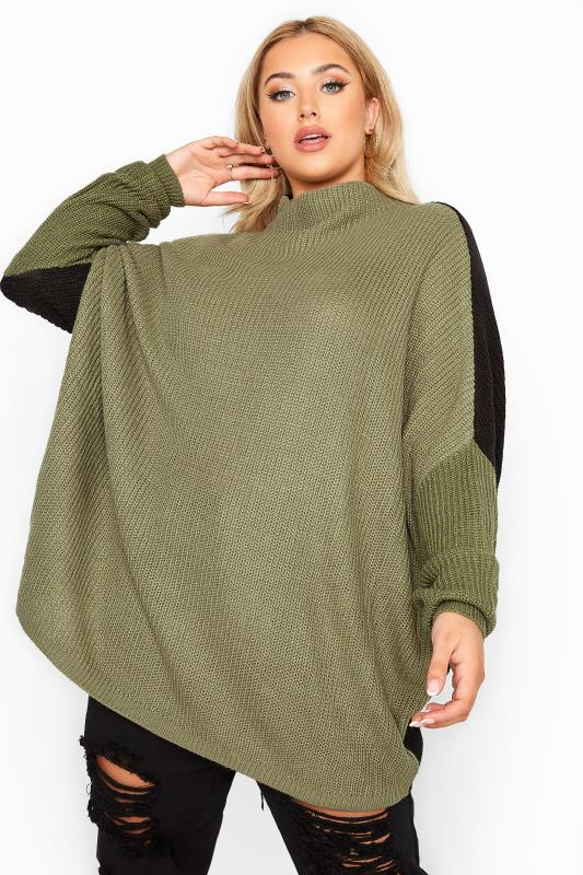 Plus Size  Khaki Colour Block Oversized Knitted Jumper