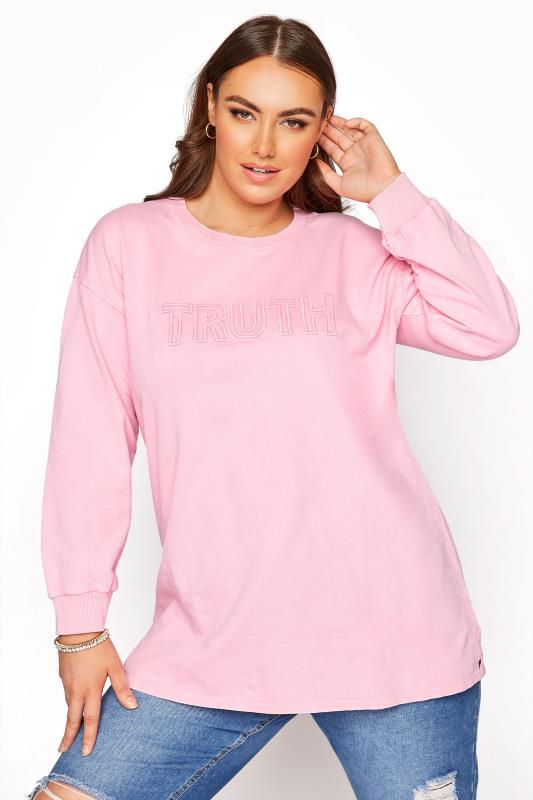 Pink Embroidered 'Truth' Slogan Sweatshirt