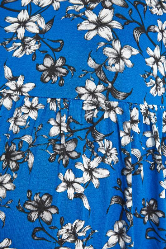 BUMP IT UP MATERNITY Blue Floral Smock Top_S.jpg