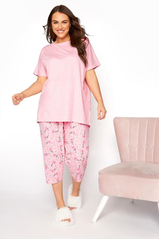 Plus Size  Pink Flamingo Printed Cropped Pyjama Set