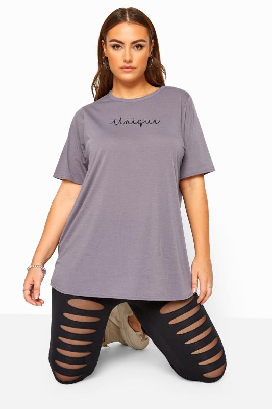 Plus Size Slogan Tops LIMITED COLLECTION Purple 'Unique' Slogan Top