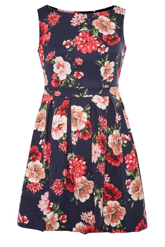 Navy Floral Print Skater Dress_F.jpg