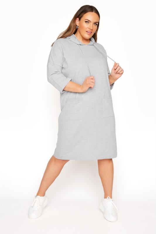 Plus Size  Grey Marl Longline Sweatshirt Dress