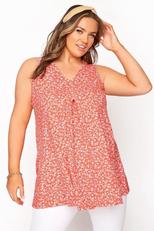 Plus Size  Coral Daisy Swing Vest