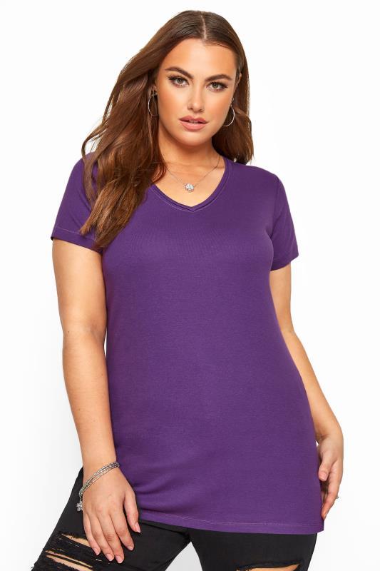 Purple V-Neck Plain T-Shirt