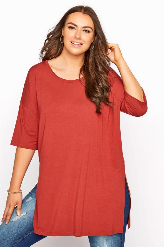 Plus Size  Rust Oversized Jersey T-Shirt