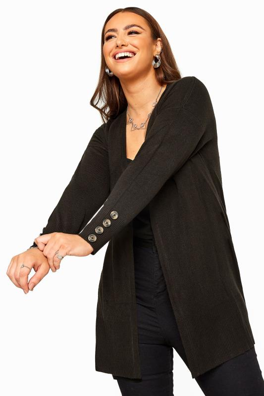 Plus Size Cardigans Black Horn Button Cuff Knitted Cardigan