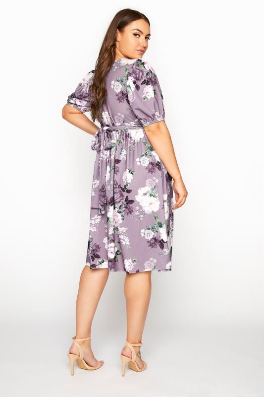 YOURS LONDON Lilac Floral Bow Front Dress_C.jpg