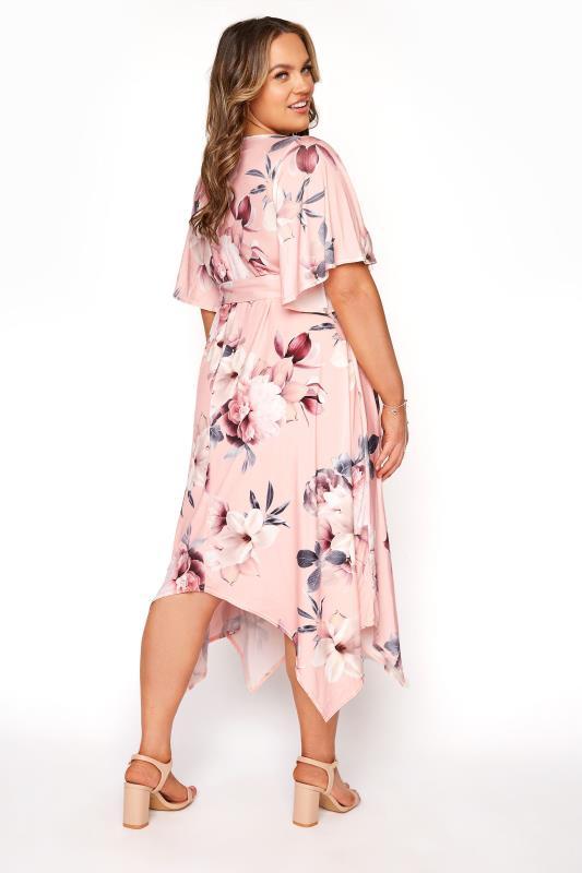 YOURS LONDON Pink Floral Wrap Hanky Hem Dress_C.jpg