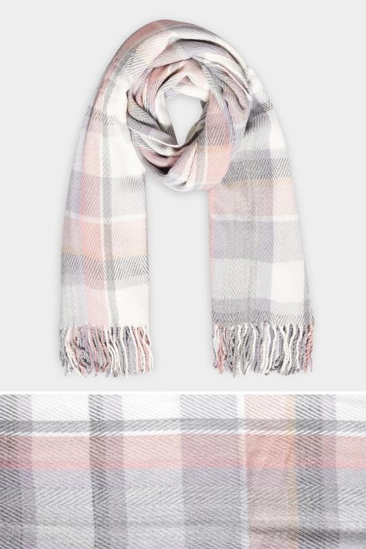 Pink & Grey Herringbone Check Scarf_split.jpg