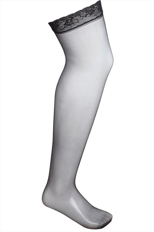 Zwarte stocking met kant aan de bovenkant