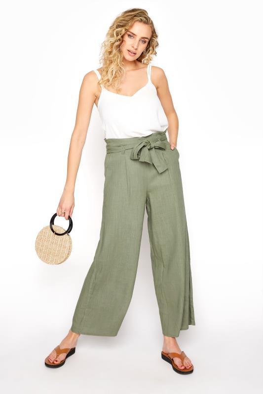LTS Khaki Linen Mix Belted Waist Cropped Trousers