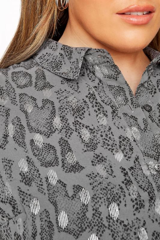 LIMITED COLLECTION Grey Foil Snake Tiered Shirt Dress_E.jpg